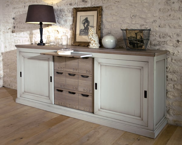Buffet berangere vazard for Meuble de sejour blanc