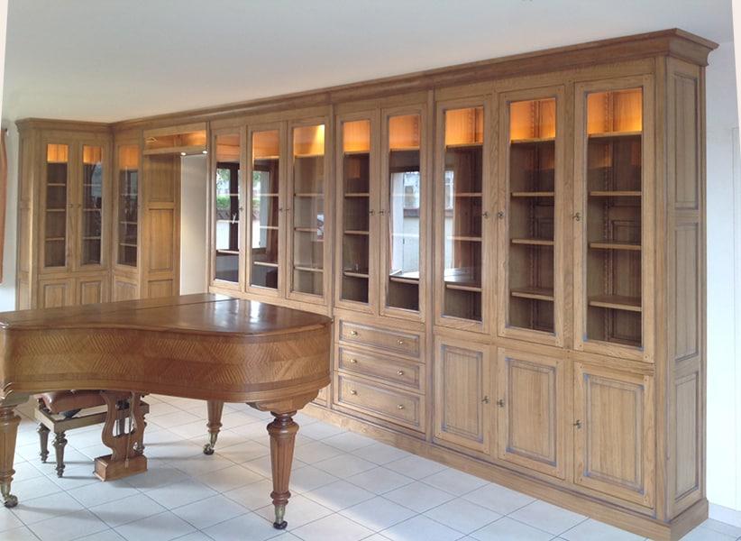 Biblioth que sur mesure meuble contemporain fabricant for Bibliotheque bureau sur mesure