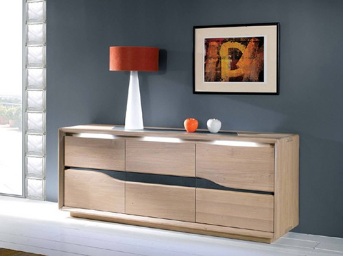 Collection ceram buffet bois naturel contemporain vazard home - Buffet bois massif contemporain ...