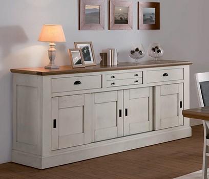 Romance grand buffet gris ambiance maison de famille meuble contemporain - Meuble maison de famille ...
