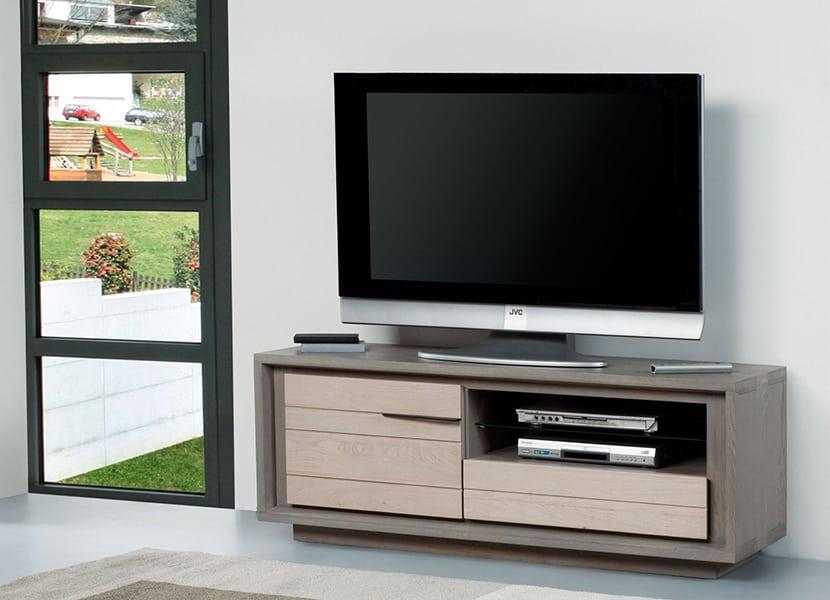 Collection zen meuble ch ne naturel vazard home for Meuble tele fin