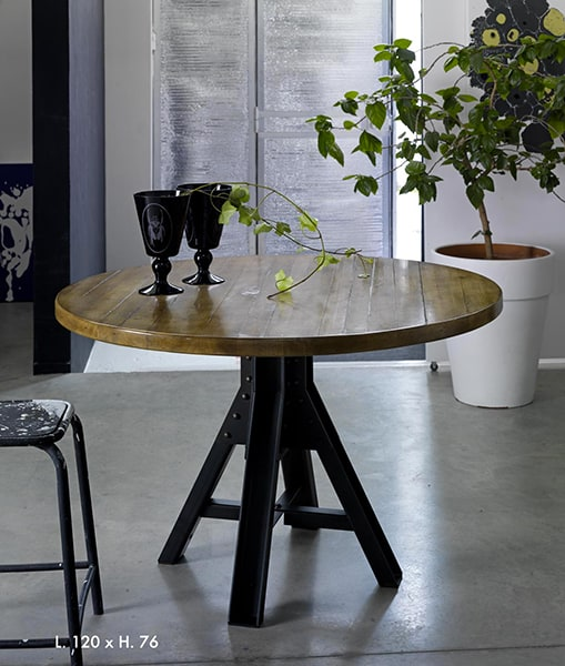 Table ronde nemo vazard - Table ronde bois et fer forge ...