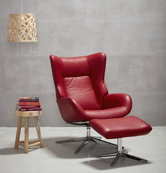 fauteuil fox cuir rouge kebe Meuble contemporain Fabricant de