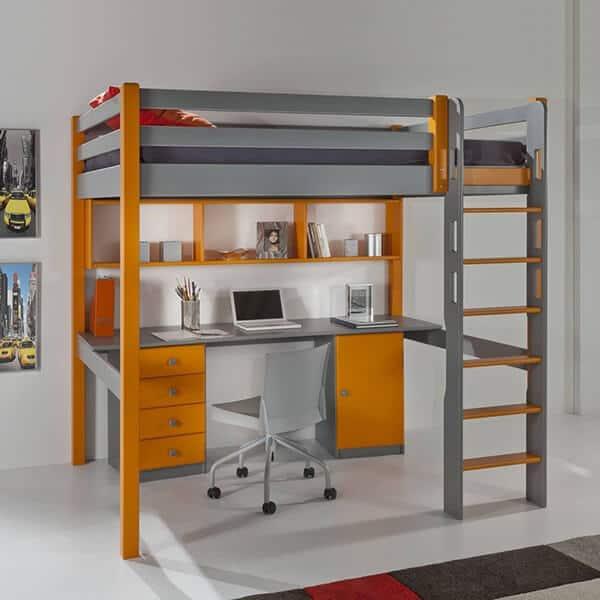 Alto Lit Mezzanine Chambre Ado Orange Gris Contemporaine
