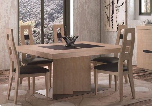 Table rectangulaire pied central oblique ernest vazard - Pied bois oblique ...