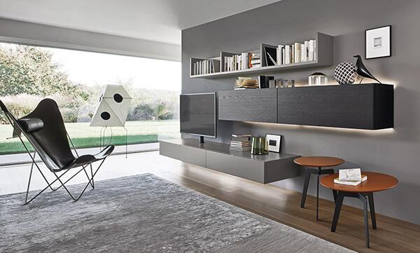 meuble-tv-suspendu-lampo-design-laque-grise-wenge-l5c60