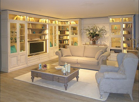 bibliotheque modulaire directoire beige country chic showroom