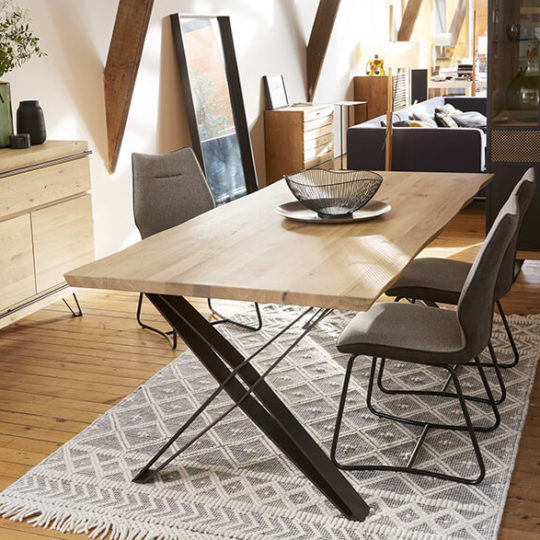 table industrielle plateau bois pied metal fusion