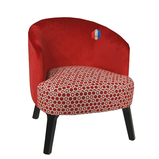 Fauteuil Chauffeuse Tissu Rouge Lydie