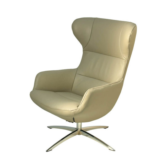 Fauteuil Relax Design Cuir Beige Kebe P1 Shine