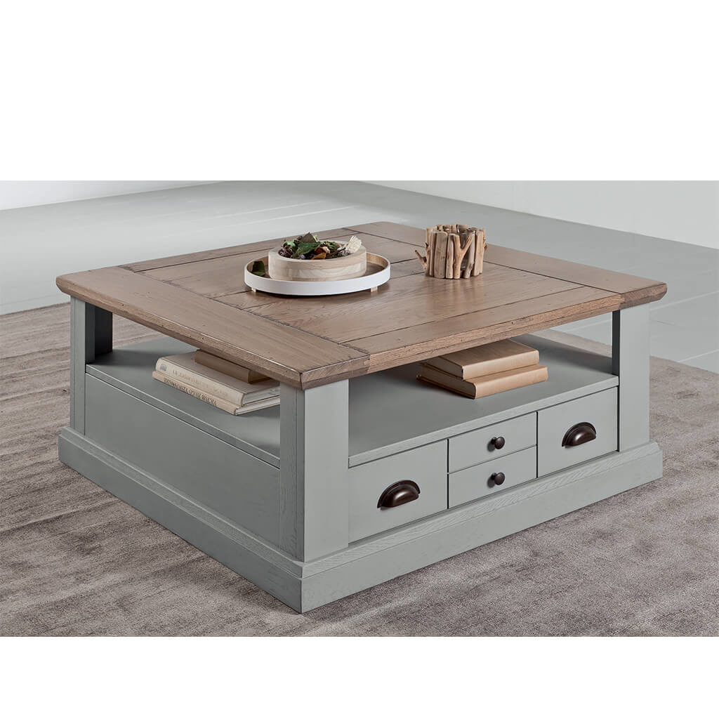 Table Basse Carree Campagne Chic Laque Grise P1 Romance